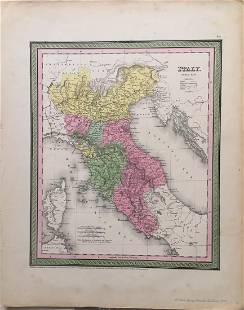 Mitchell Cowperthwait Antique Map of Italy 1854