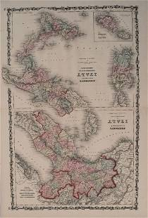 Johnson Antique Map of Italy 2 sheets 1861