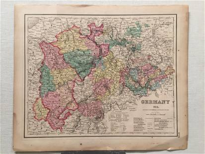 Colton Antique Map of Germany 1857