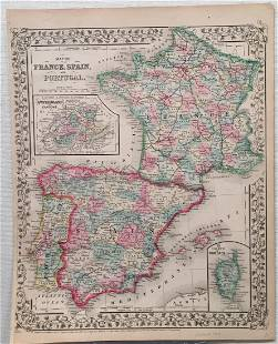 Mitchell Antique Map of France Spain Portugal 1869