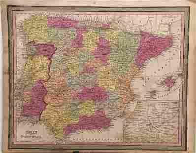 Cowperthwait Antique Map of Spain Portugal 1850