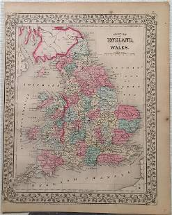 Mitchell Antique Map of England and Wales 1869