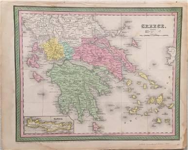 Mitchell Cowperthwait Antique Map of Greece 1864