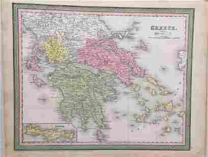 Cowperthwait Antique Map of Greece 1850