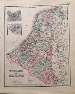 Johnson Browning Antique Map of Holland Belgium 1857