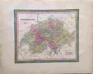 Cowperthwait Antique Map of Switzerland 1850