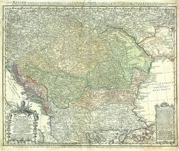 Homann Heirs Antique Map of Hungary 1750