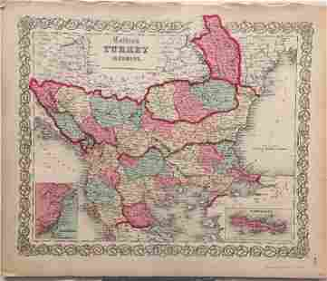 Johnson Browning Antique Map of Turkey in Europe 1860