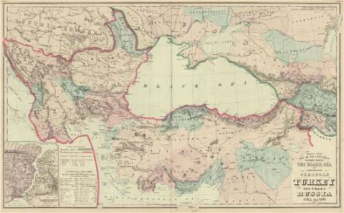 Grays Antique Map of Countries Surrounding Black Sea