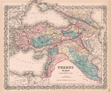 Colton Antique Map of Turkey in Europe 1855