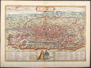 Braun & Hogenberg: Antique Map of Rome, 1572