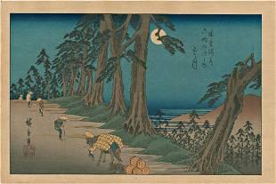 Ando Hiroshige Roadside Pines Japanese Woodblock Print