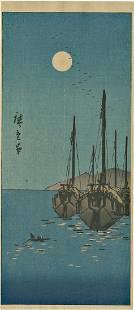 Ando Hiroshige Sailing Ships Japanese Woodblock Print