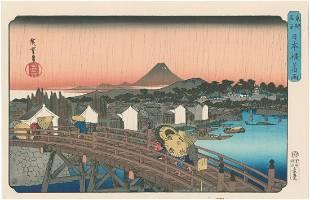 Ando Hiroshige Sudden Shower Japanese Woodblock Print