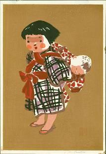 Kiyoshi Saito Child Baby Japanese Woodblock Print