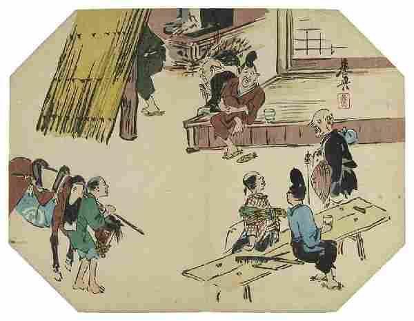 Shibata Zeshin Tea House Japanese Woodblock Print