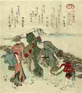 Totoya Hokkei Beach Japanese Woodblock Print