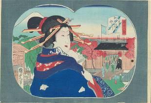 Utagawa Kunisada II Fan Japanese Woodblock Print