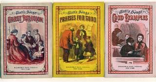 Lot of 3 1873 Isaac Watt's Songs Booklets