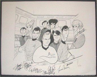 Original Series Cast Autograph Print Al Hirshfeld