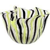 Venini Murano Yellow Black Ribbons Art Glass Vase