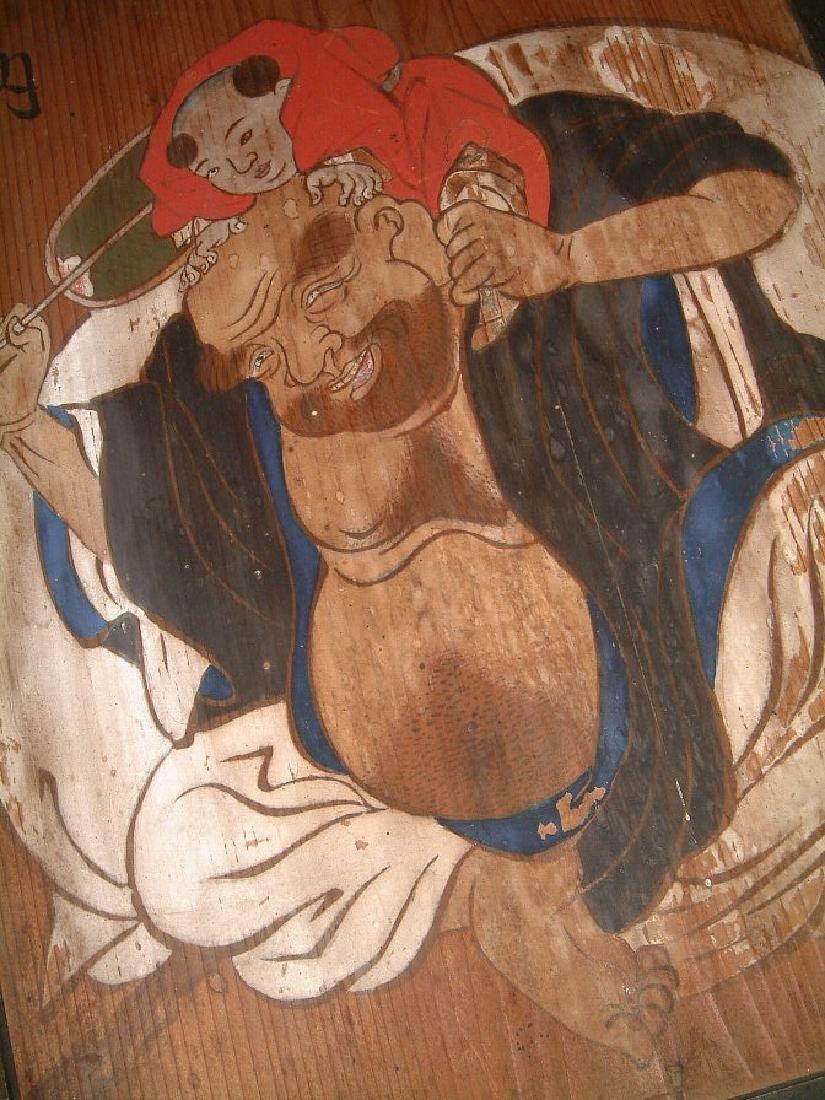 Antique Japanese Edo Hotei Painting on Wood, 1867 - 3