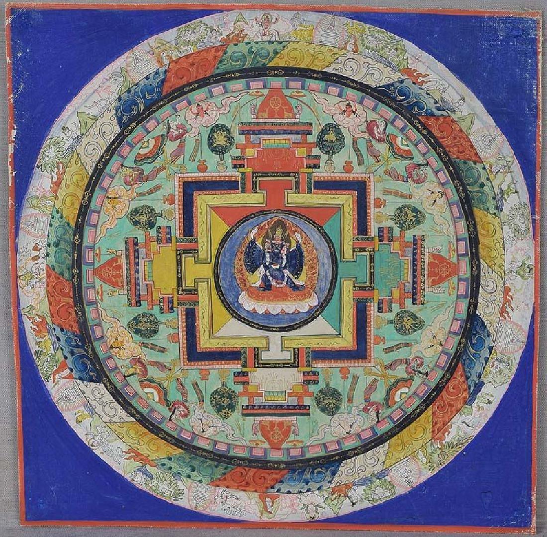 Antique Tibetan Vajrabhairava Mandala Thangka, 19th C