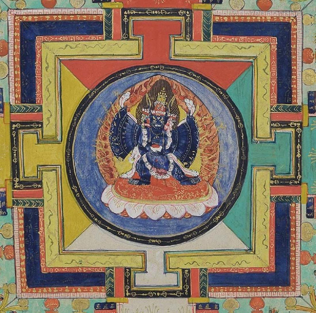 Antique Tibetan Vajrabhairava Mandala Thangka, 19th C - 2