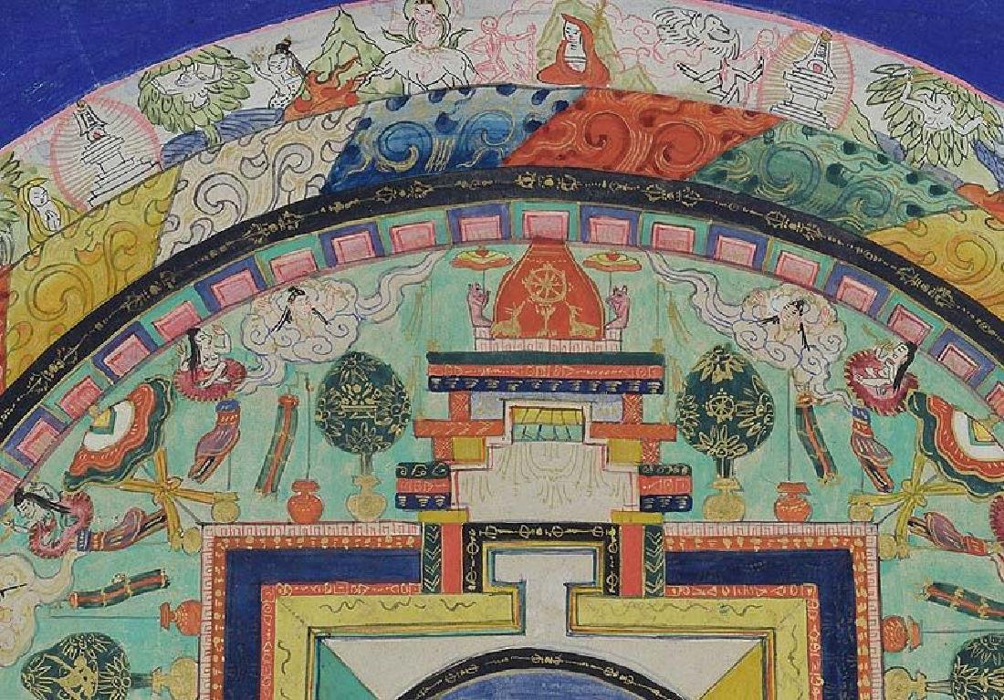 Antique Tibetan Vajrabhairava Mandala Thangka, 19th C - 4