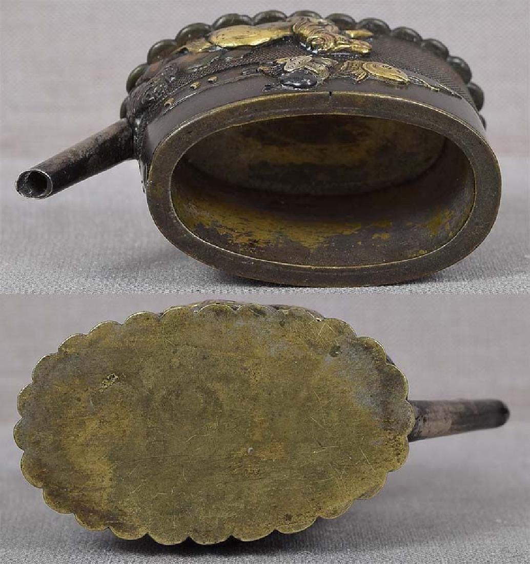 Antique Japanese Metal Sword Fittings Water Dropper - 3