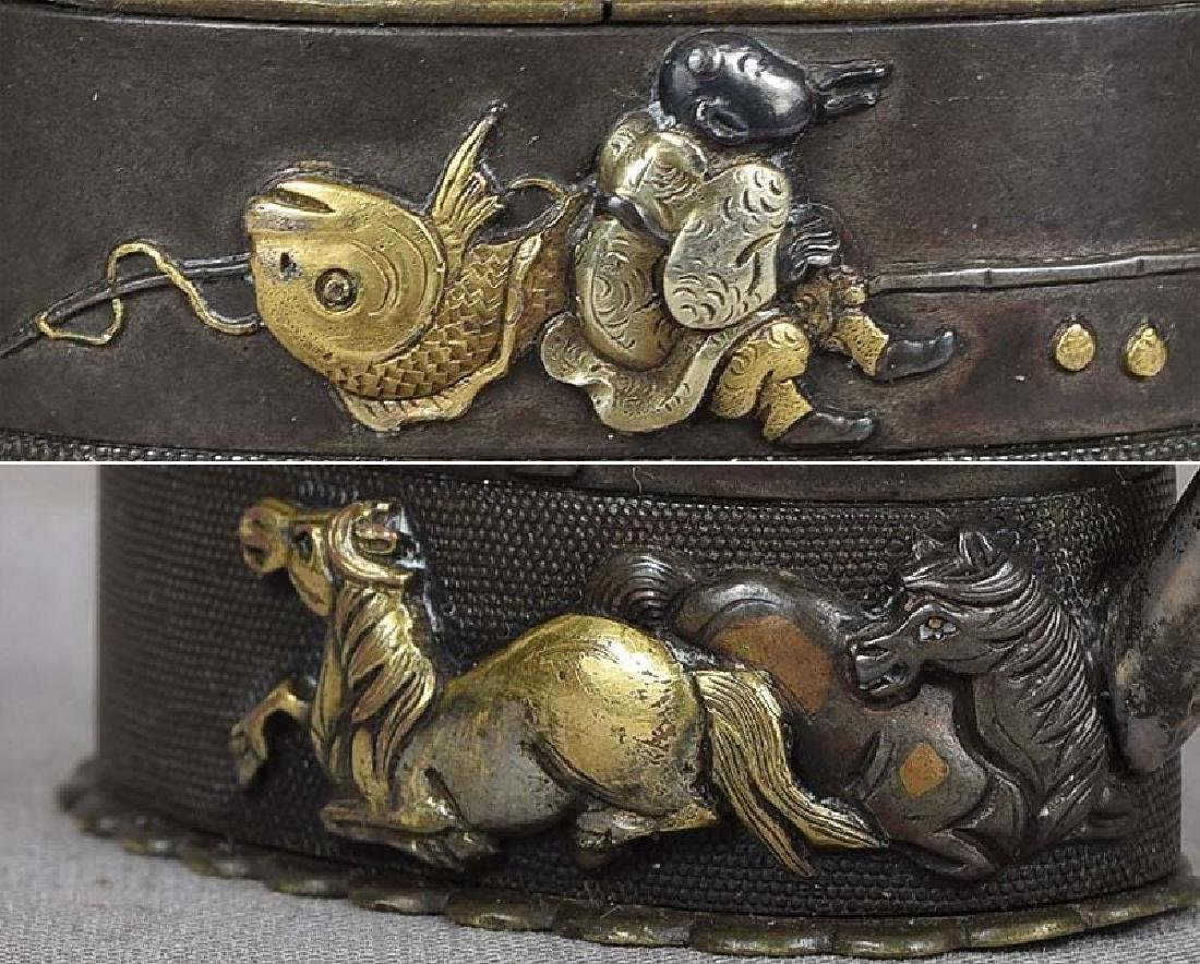 Antique Japanese Metal Sword Fittings Water Dropper - 4