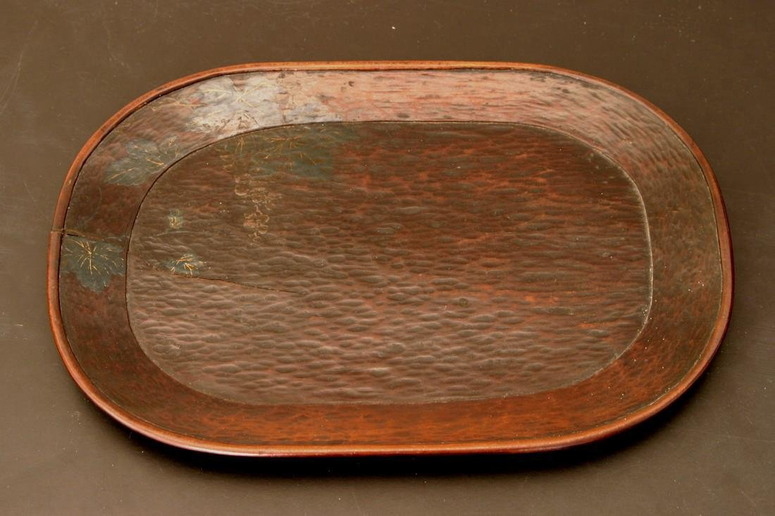 Antique Japanese Edo Period Lacquer Wood Tray, 19th C