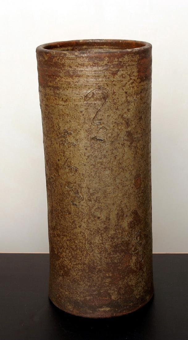 Antique Japanese Meiji Glazed Ceramic Flower Vase - 2