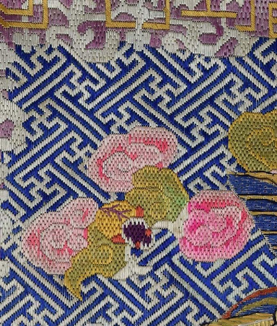 Antique Chinese Textile 2nd Rank Badge Mandarin Square - 4