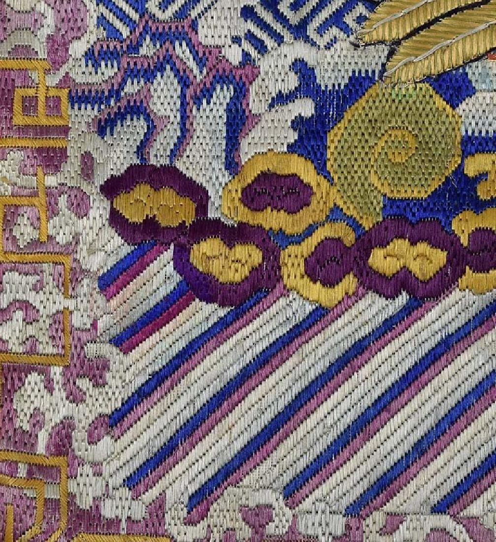 Antique Chinese Textile 2nd Rank Badge Mandarin Square - 5
