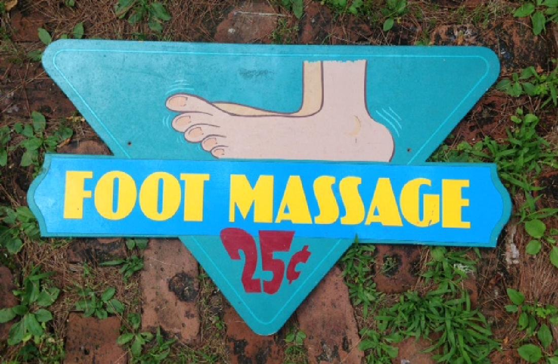 Foot Message 25 Cents Trade Sign 1970