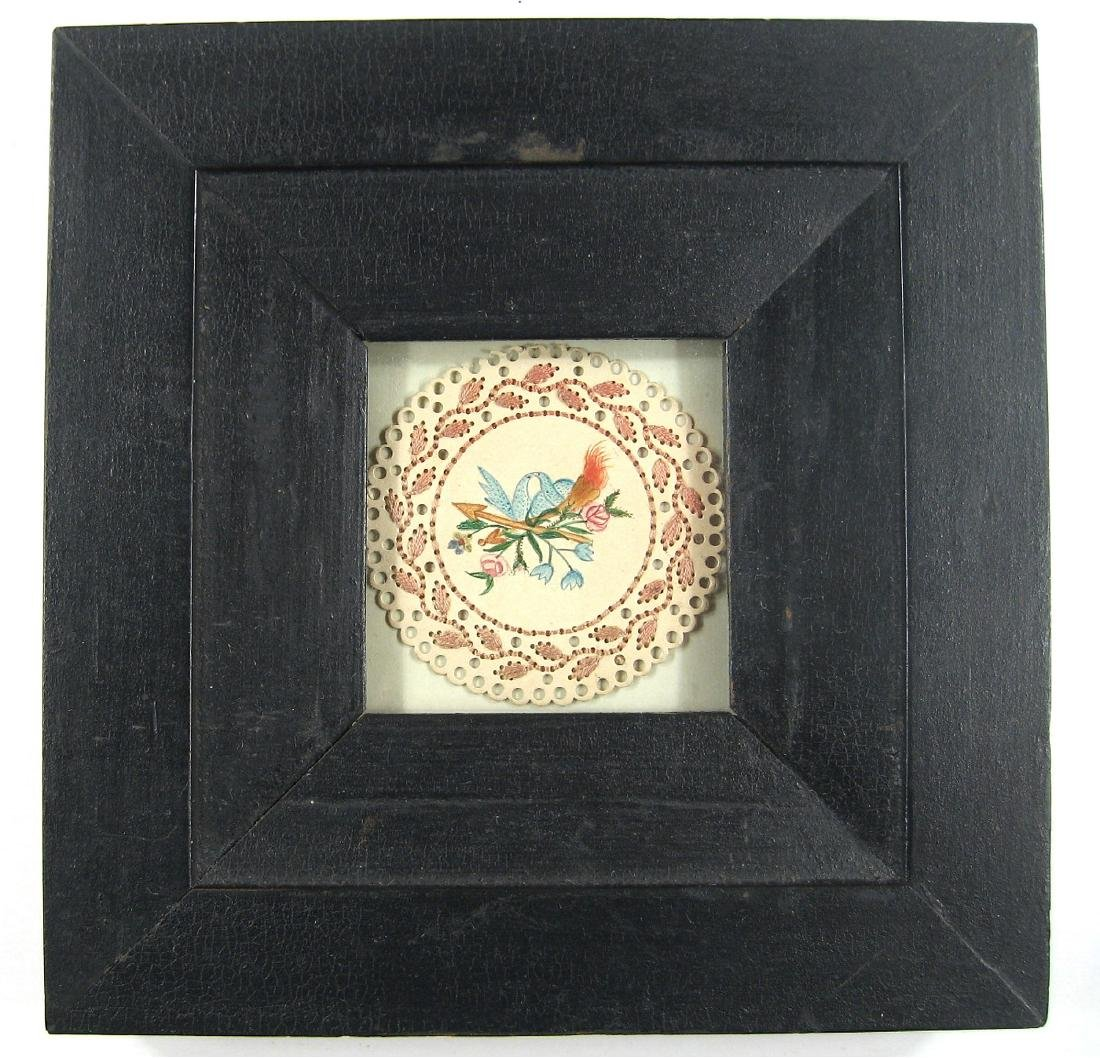 Framed Watercolor Love Token Circa 1835