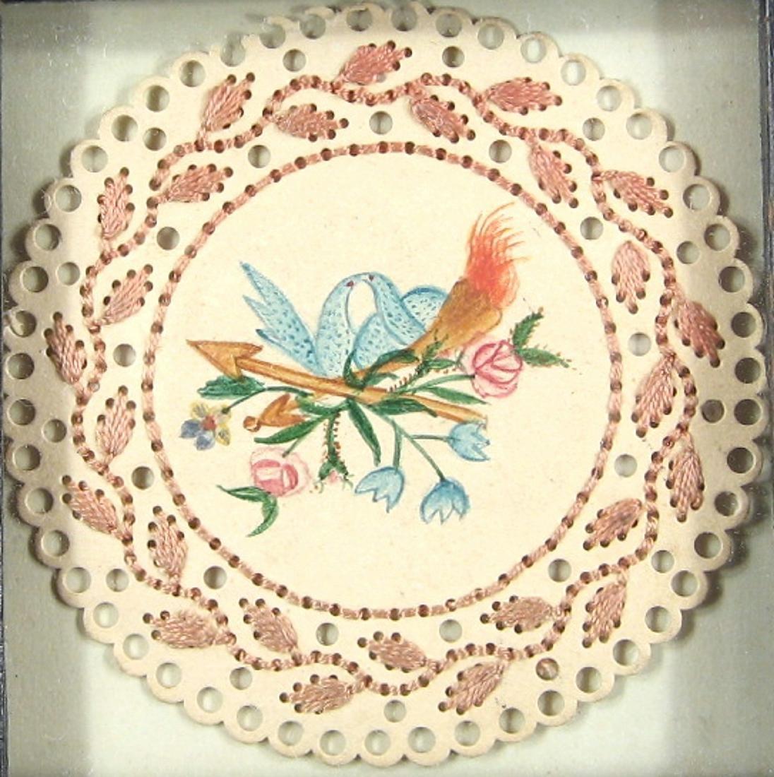 Framed Watercolor Love Token Circa 1835 - 2