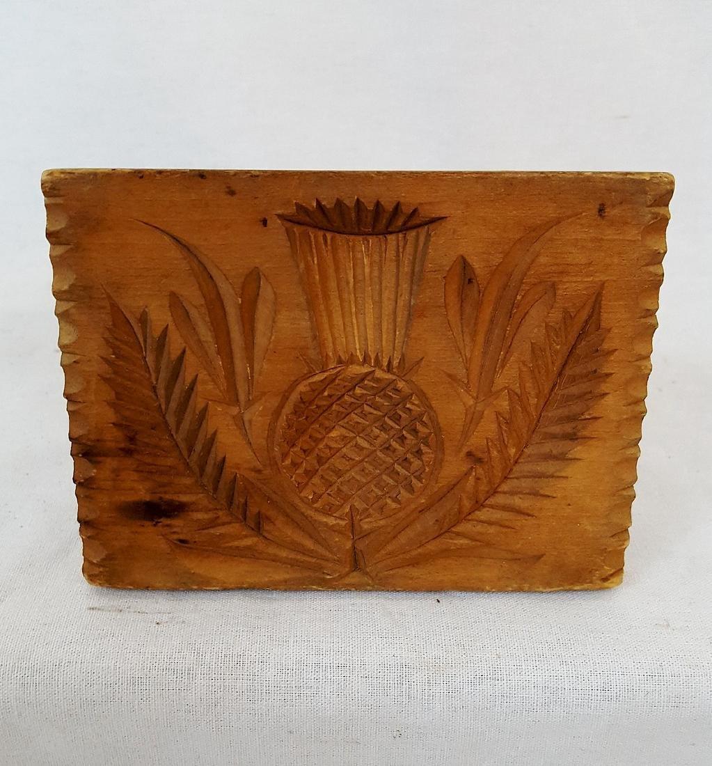 Pennsylvania Carved Poplar Thistle Butter Print 1860