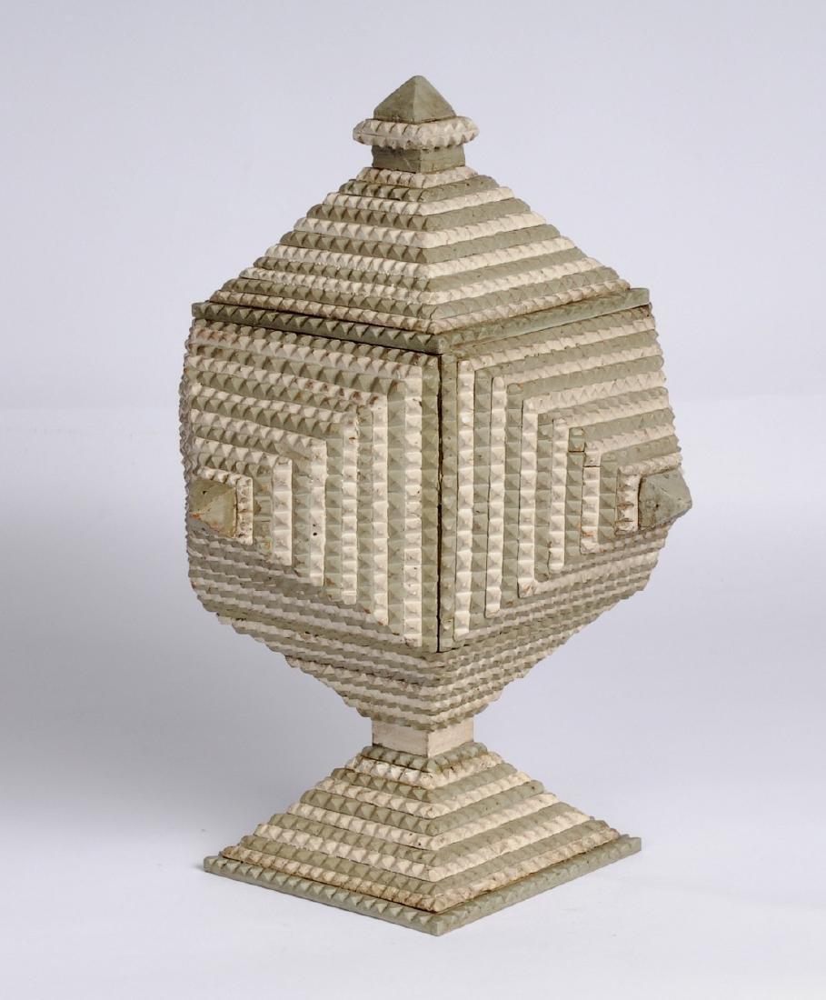 Painted Tramp Art Pedestal Box with Finial Circa 1900 - 2