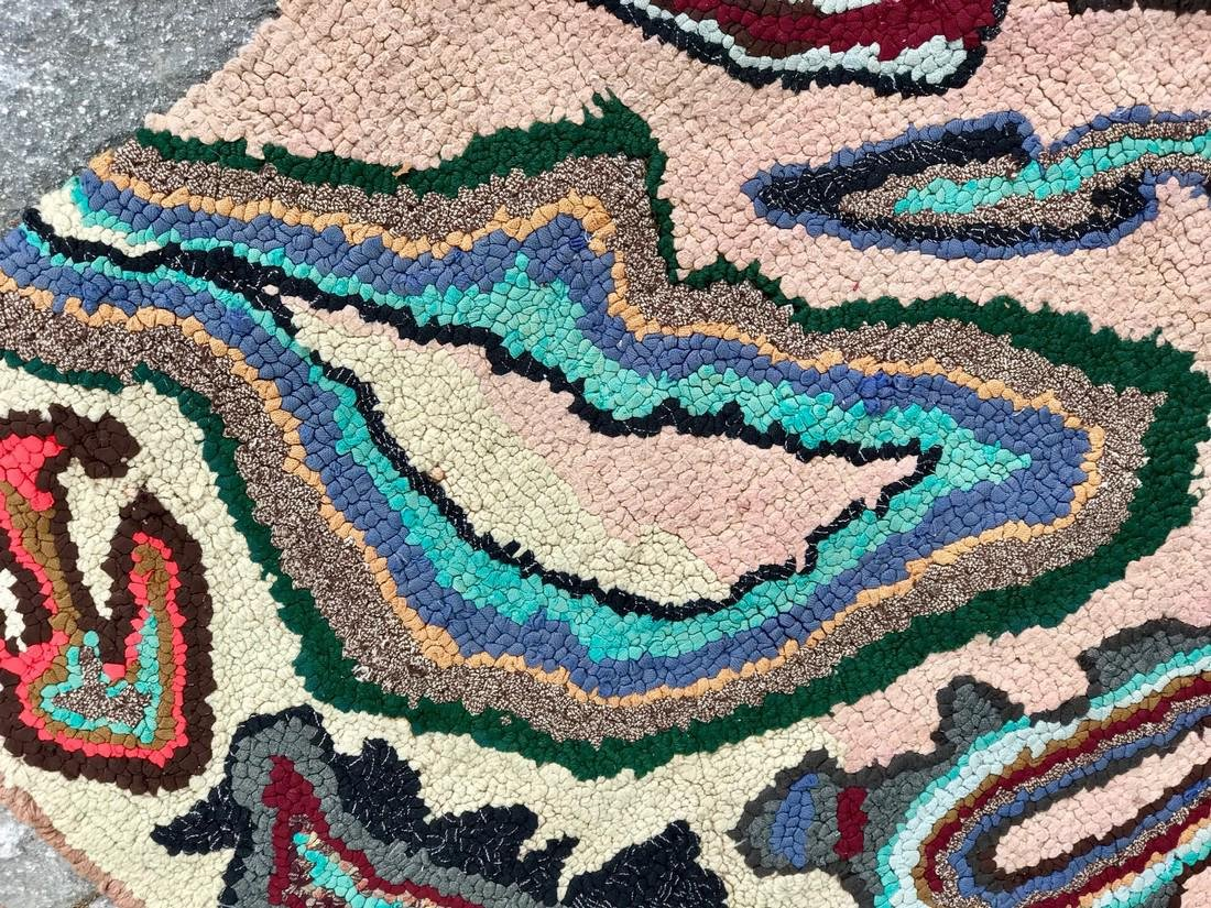 Modernist Abstract Hooked Rug Pennsylvania 1950 - 7