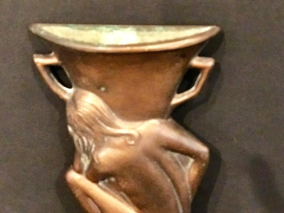 Kneeling Nude Before Urn Brass Wall Pocket Circa 1900 - 2