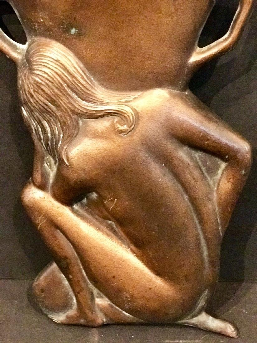 Kneeling Nude Before Urn Brass Wall Pocket Circa 1900 - 4