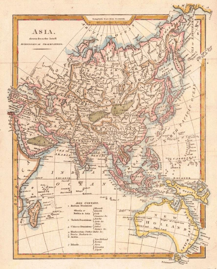 Kitchen: Antique Map of Asia, 1800