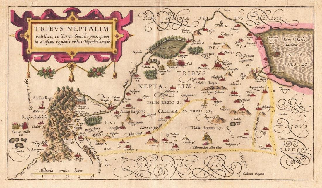 von Adrichom: Antique Map of Holy Land / Naphtali, 1584