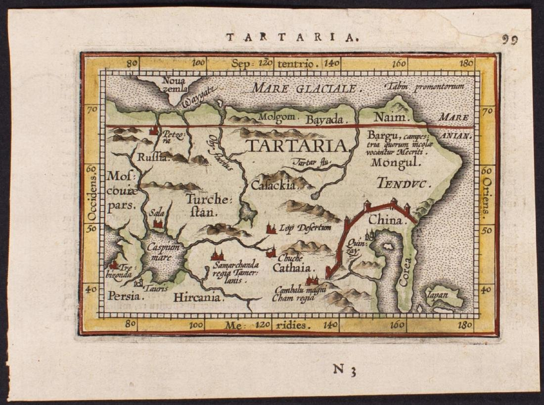 Ortelius: Antique Map of Tartaria with Great Wall, 1601