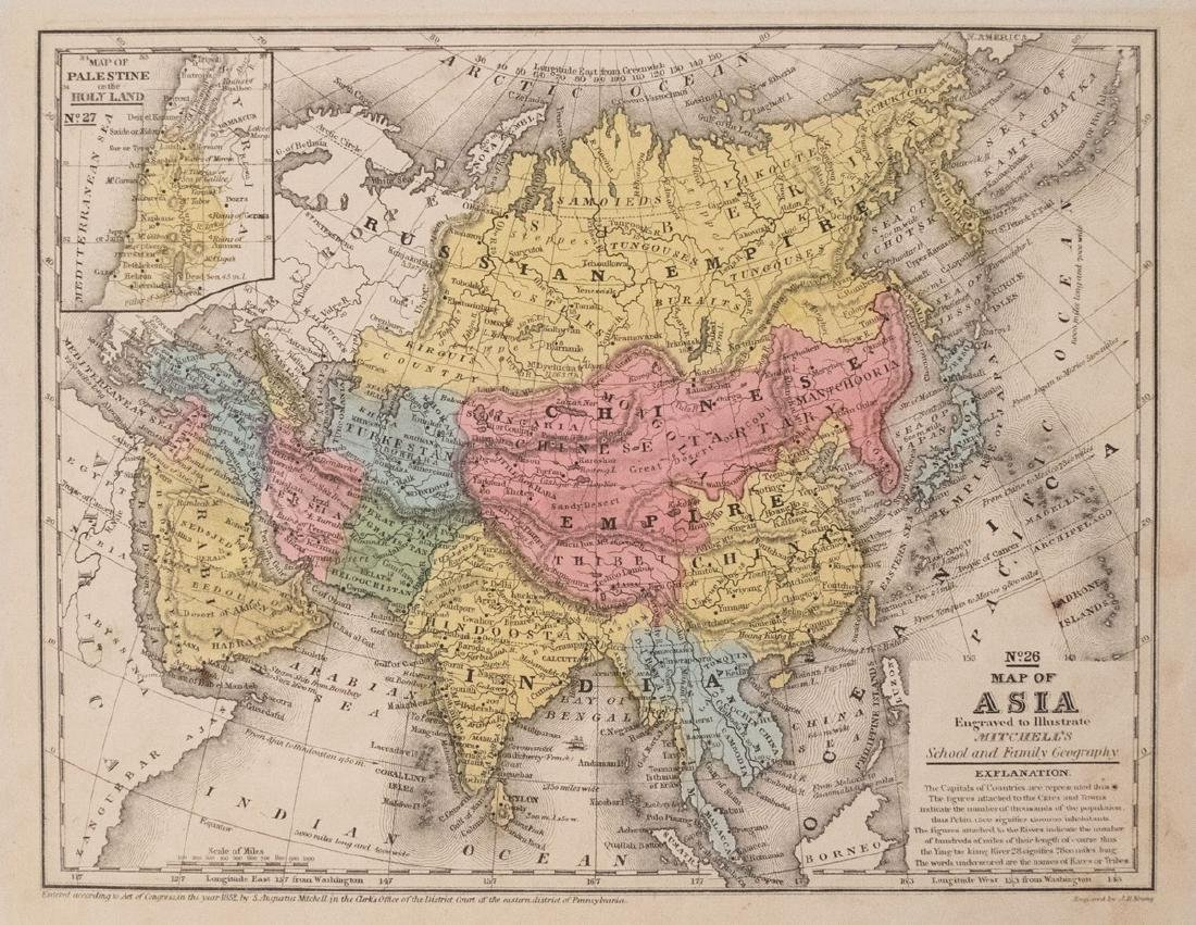 Mitchell: Antique Map of Asia Verso Europe, 1852