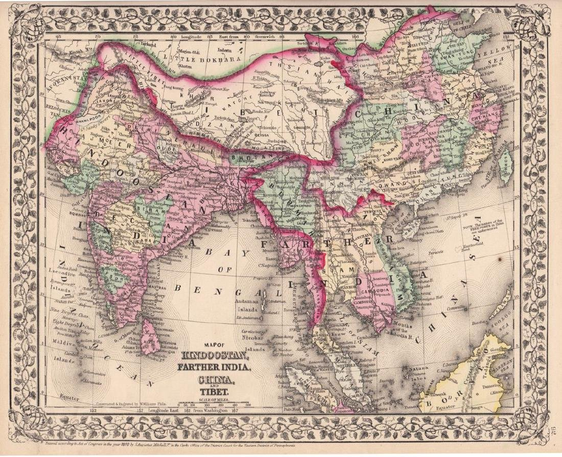 Mitchell: Antique Map of India, Indochina, China, 1870
