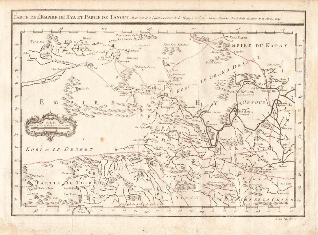 Bellin: Antique Map of Tartary, Tibet, Silk-Road China