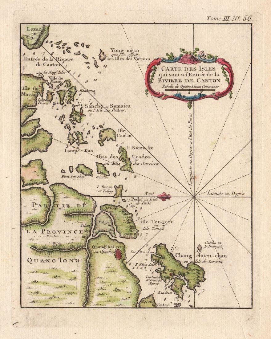 Bellin: Antique Map of Pearl River Delta Islands, 1764